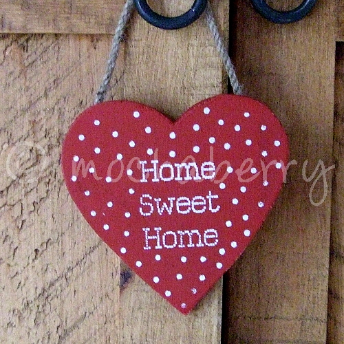 Red Polka Dot 'Home Sweet Home' Heart  Wooden Heart  Rustic