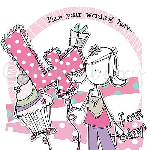 Personalised girl 4th birthday cards girl fourth birthday cards bookmarktalkfo Images