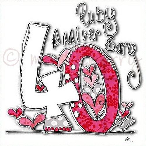 Ruby wedding anniversary card male models picture
