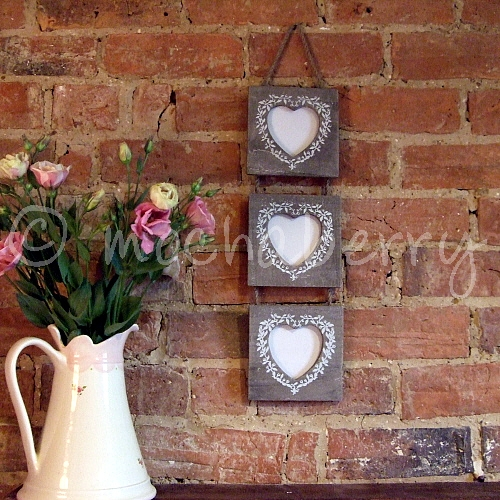 Hanging Triple Wooden Photo Frames | Three Hanging Picture Frames