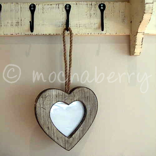 Hanging Wooden Heart Photo Frame Rustic Heart Shaped Photo Frame